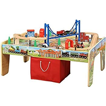 50 piece train set with 2 in 1 activity table for 100 piece cityscape train set and wooden activity table