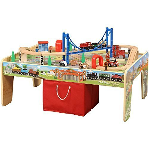 50-Piece Train Set with 2-in-1 Activity Table