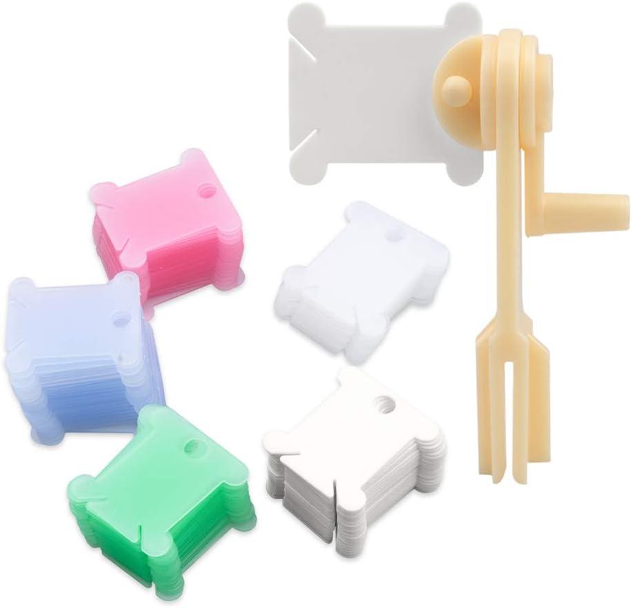 Novelfun 120 piezas de bobinas de hilo de plástico con bobinador de hilo para punto de cruz, bordado, hilo de algodón, manualidades, costura, almacenamiento, colorido
