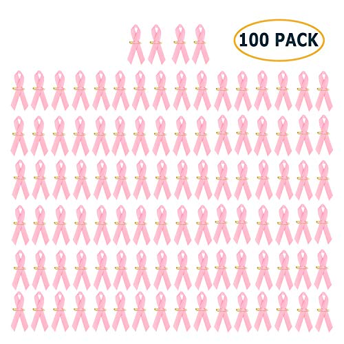 Pack of 100, Official Breast Cancer Awareness Pink Ribbons by Crystal Lemon