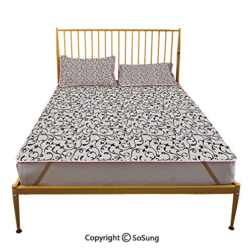 Black and White Creative Queen Size Summer Cool Mat,Spring Themed Garden Pattern Monochrome Style Traditional Vintage Swirls Decorative Sleeping & Play Cool Mat,Coconut Black