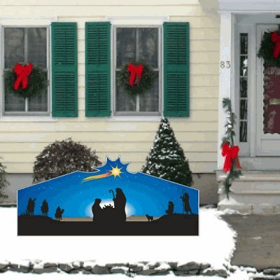 VictoryStore Yard Sign Outdoor Lawn Decorations, Christmas Nativity Large Star Lawn Display Decoration - 4 feet x 8 feet