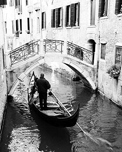 White Black Architectural Photos (Venice Italy Canal Black and White Photography Travel photo 8x10 inch print)