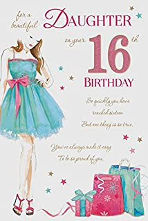 Daughter 16 16th Happy Birthday Girl Dress Design Good Quality Card With A Lovely Verse