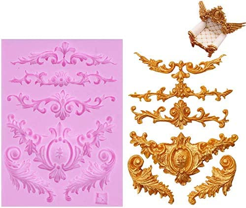 DIY Baroque Scrolls Flower Vine Silicone Molds Fondant Cake Candy Decorating