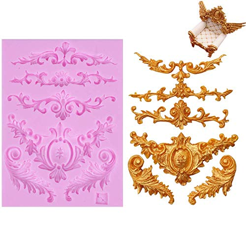 Efivs Arts DIY 3D Sculpted Flower royal Lace baroque scroll Silicone Mold Fondant Mold Cupcake Cake Decoration Tool (Cake Fondant Molds)