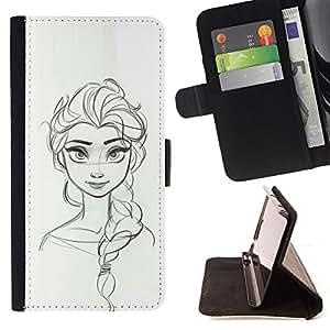 - Queen Pattern FOR Samsung Galaxy S3 III I9300 /La identificaci????n del cr????dito ranuras para tarjetas tir????n de la caja Cartera de cuero cubie - sketch woman drawing scribb