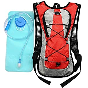 EconoLed Hydration Pack Water Rucksack Backpack Bladder Bag Cycling Bicycle Bike/Hiking Climbing Pouch + 2L Hydration Bladder (Red)