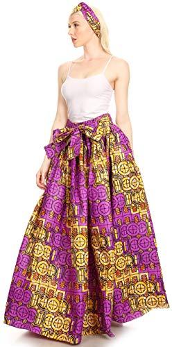 Tasche Sakkas Long Maxi E purplewhite 136 Gonna Vita Stampa Ami Ankara Femminile Elastica YxrEwx