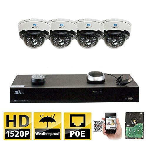 GW Security 8CH H.265 8MP 4K NVR 4MP (2592 x 1520) Plug & Play POE IP Camera System, 4pcs 4MP 1520p 2.8-12mm Varifocal Zoom Waterproof Dome Security Cameras, Pre-Installed 2TB HDD and More