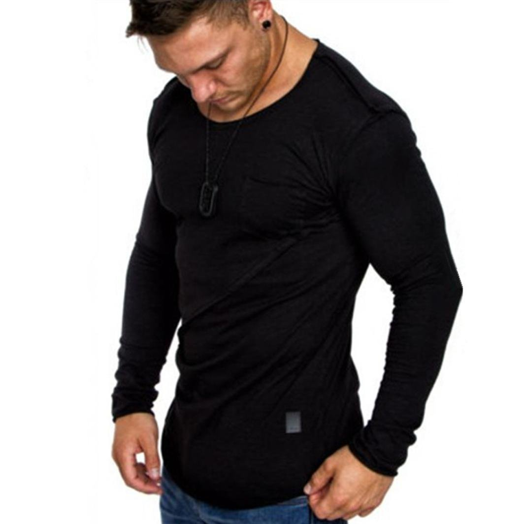 vermers Clearance Men Long Sleeve T Shirts - Casual Beefy Muscle Button Basic Solid Blouse Tee Shirt Tops(XL, Black)