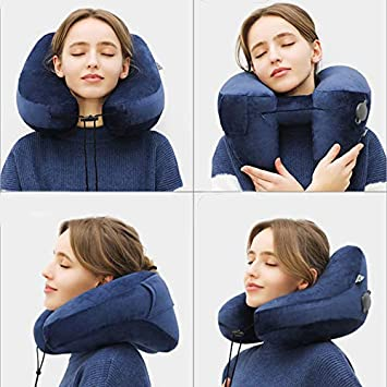 Sleep Mask Earplugs Navy Blue Including Carry Pouch 3 Seconds Inflate Full Lucear Inflatable Travel Pillow Set for Airplane Train Car Office Rest- Velvet Travel Support Neck Pillow