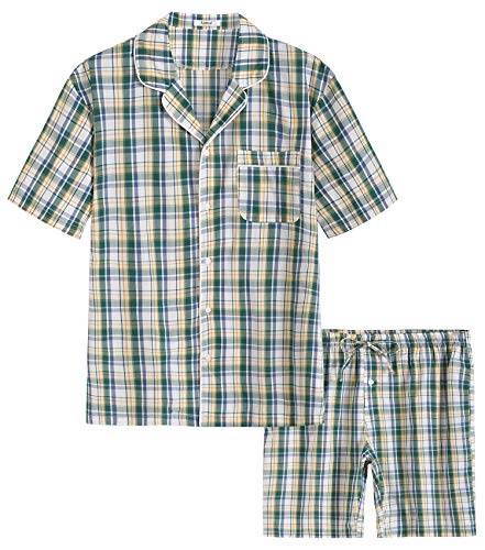 - Latuza Men's Cotton Woven Short Sleepwear Pajama Set (X-Large, Green Plaid)