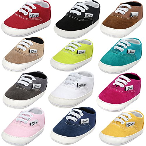 BENHERO Baby Boys Girls Canvas Toddler Sneaker Anti-Slip First Walkers Candy Shoes 0-24 Months 12 Colors (6-12 Months M US Infant), Aa-White]()