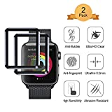 [2 Pack] Screen Protector for Apple Watch 38mm Aottom [3D Curved Edges Full Coverage] iWatch Screen Protector Protection Carbon Fiber Frame Edge Tempered Glass Film for 38mm Apple Watch Series 3/2/1