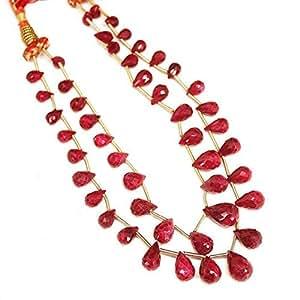 2Strand Rubí Facetado Briolette lágrima Briolette Gemstone Craft Loose Beads 7mm 13mm
