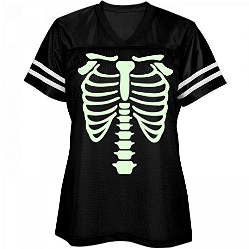 Customized Girl Glow In The Dark Ribcage Bones: Ladies Relaxed Fit Mesh Football (Glow In The Dark Halloween Shirts)
