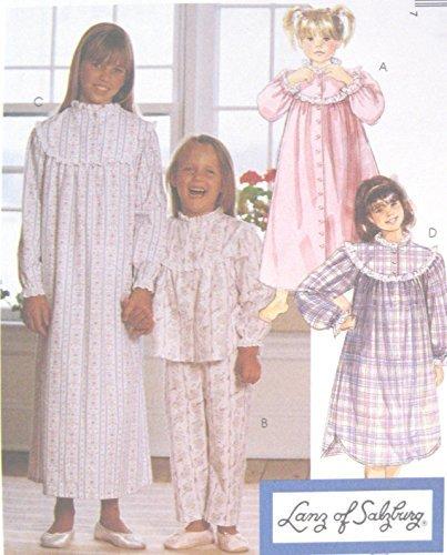 Girls Robe Pajama Top Pants Nightgown Nightshirt Sewing P...