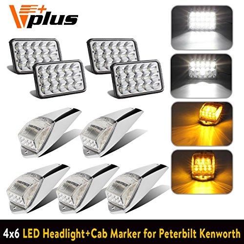 (Partsam 4pc 4x6 inch LED Headlight Sealed Dual Hi/Lo Beam White Rectangular H4651 H4666 H4656 H6545+ 5X Cab Marker Roof Light 17 LED Amber/Yellow Clear Lens for Peterbilt Kenworth Freightliner Mack)