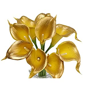 Angel Isabella 10pc Set of Real Touch Calla Lily-Keepsake Artificial Calla Lily with Small Bloom Perfect for Making Bouquet, Boutonniere,Corsage.Quality Keepsake Artificial Flower (Metallic Gold) 113