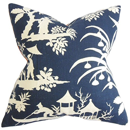 - The Pillow Collection P18FLAT-ROB-CRYSTALLAKE-MIDNIGHT-L Liya Floral Throw Pillow Cover, 18