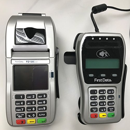 First Data FD-130 Duo Credit Card Terminal and FD-35 PINpad with Wells 350 Encryption and Stand by FIRST DATA