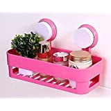 Woogor Bath and Kitchen Storage Shelf with Suction Cup Mounting for Keeping Toiletries, Kitchen Items and More - Random Color