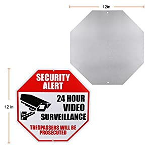 "Video Surveillance Sign - REFLECTIVE - Business and Home 24 Hours CCTV Security Alert - Waterproof Indoor Outdoor Security Camera Warning - 12""x12"" Aluminum Sign Sticker Decals, Red, Black On White"