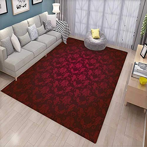 - Maroon Area Rugs for Bedroom Victorian Damask Pattern with Vignette Effect Royal Revival Ancient Rich Motifs Door Mats for Inside Maroon Black