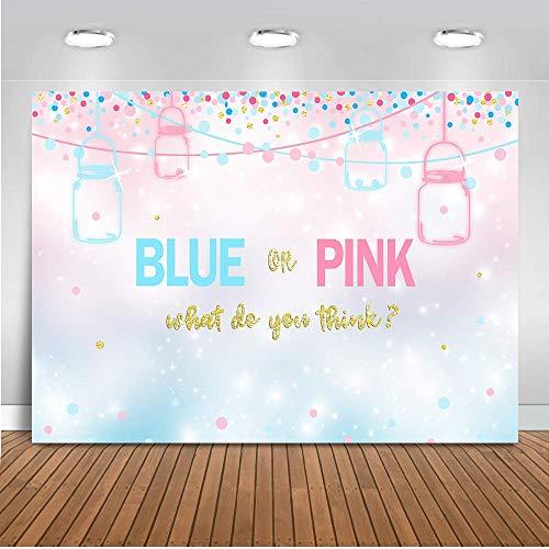 Mehofoto Blue or Pink Gender Reveal Backdrop Gender Reveal Baby Shower Photography Background 7x5ft Vinyl Mason Jars Gender Reveal Party Banner Backdrops (Pink And Blue Mason Jars)