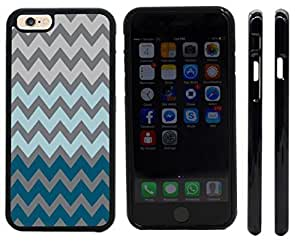 Rikki KnightTM Chunky Chevron Deep Grey Blue Chevron Design iPhone 6 Case Cover (Black Rubber with front bumper protection) for Apple iPhone 6