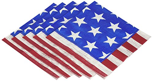 Amscan Americana Luncheon Napkins Patriotic 4Th of July Party Disposable Tableware (100 Piece), Multicolor, 6.5