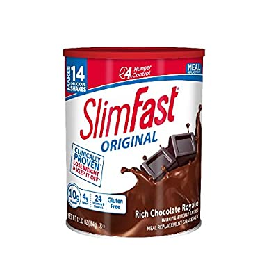 Slim Fast Original weight loss Meal Replacement shake mix powder with 10g of protein and 4g of fiber plus 24 Vitamins and Minerals per serving, Rich Chocolate Royale, 12.83 Oz