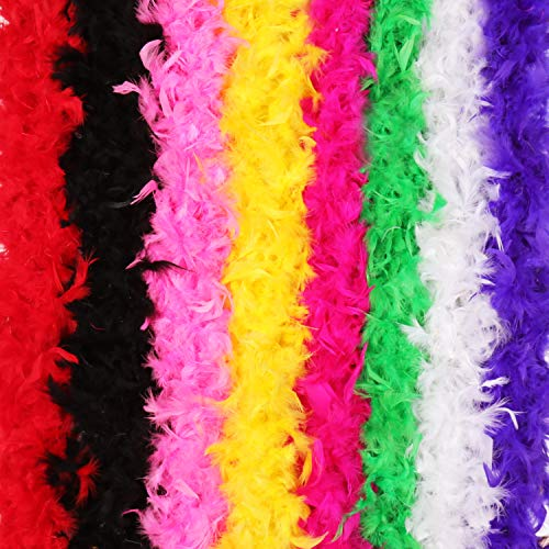 8pcs Feather BOA,Colorful Feather BOA for Costume Party Accessory,8 Different Colors -