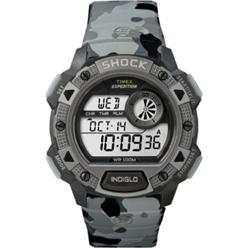 Timex Men's Quartz Watch with LCD Dial Digital Display and Grey Resin Strap TW4B00600 ()