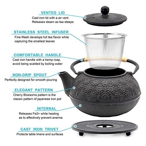OMyTea Cast Iron Teapot with Infuser and Trivet, Japanese Tetsubin Tea Kettle, Cherry Blossoms Pattern, 31oz / 900ml
