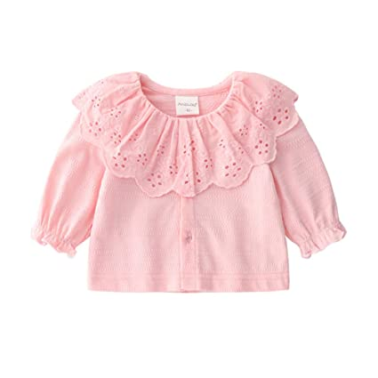 ace1379b7b44a ALLAIBB 長袖シャツ 大きい襟 ブラウス フリル ベビー服 カーディガン 女の子 生産祝い 写真撮影 ピンク 50