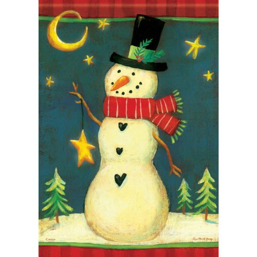 (Twilight Snowman Winter Garden Flag)