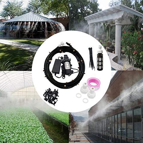 Système de brumisateur extérieur, brumisateur terrasse, Système de Refroidissement par Brumisation, Kit de brumisation Idéal, pour Gazebo Réseaux Pergolas Piscine ventilateur jardin, avec pompe à eau
