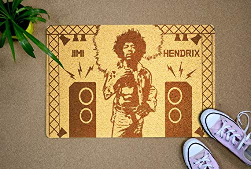 Gifts and Crafts Store Jimi Hendrix 24x16 inch Doormat for Shoes Inside Outside Rubber Porch Mat Housewarming Birthday Holiday Congratulation Gift for Men Women Best Friend Neighbor Teacher -