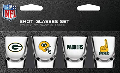 - NFL Green Bay Packers Shot Glass Set4 Pack Shot Glass Set, Team Colors, One Size