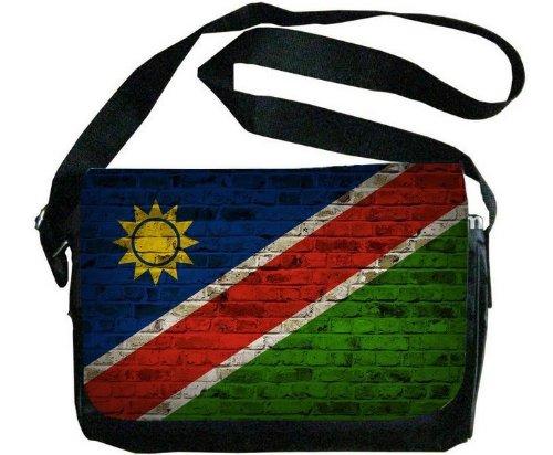 Namibia Flag Brick Wall Design Messenger Bag