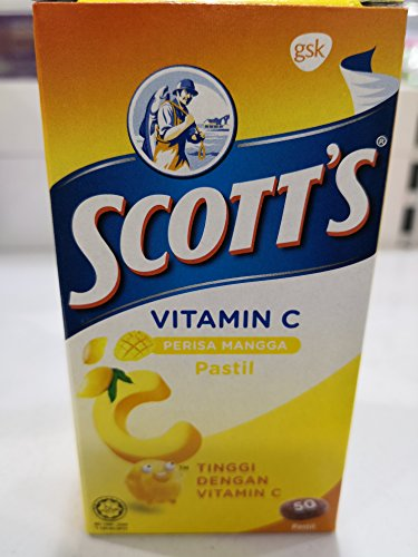 Scott's, Pastilles, Vitamin C Mango Flavour 50pcs x2g, Fun and Tasty Way to Help Reach Your Child's Vitamin C Requirements