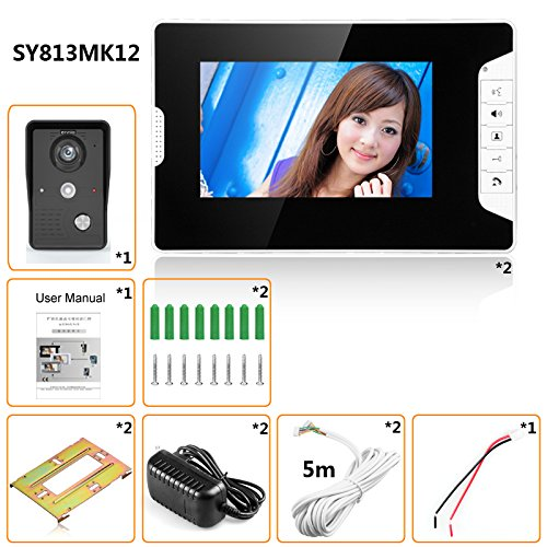GAMWATER 7 Inch Video Door Phone Doorbell Intercom Kit 1-camera 2-monitor Night Vision with IR-CUT HD 1000TVL Camera Handfree intercom by GAMWATER (Image #6)