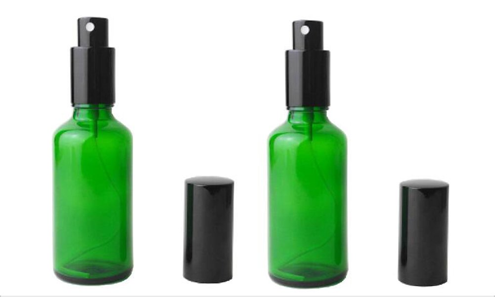 2pcs Verde Cristal botellas vacías fina niebla botella de Spray con negro atomizador para perfume aceite esencial fórmulas aromaterapia agua de limpieza: ...