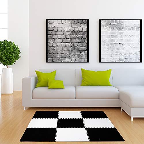 Dooboe Interlocking Floor Tiles – Foam Carpet Tiles – Foam Puzzle Mat with Borders – Black and White Protective Flooring – Anti-Fatigue, Non-Toxic, Easy to Clean, EVA Foam