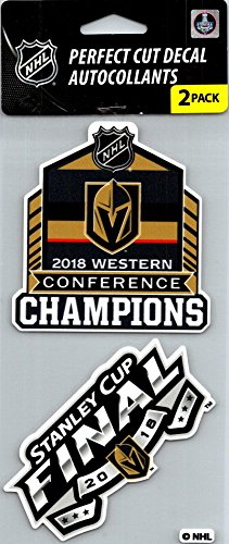 Vegas Golden Knights Champs Perfect Cut Decal/Sticker Set of 2 NHL 4x4 -