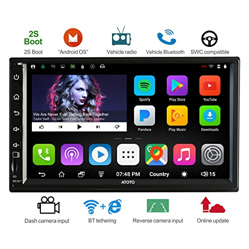 [NEW] ATOTO A6 Double DIN Android Car Navigation Stereo w/ Dual Bluetooth – Standard A62710SB 1G/16G Car Entertainment Multimedia Radio,WiFi/BT Tethering internet,support 256G SD &more