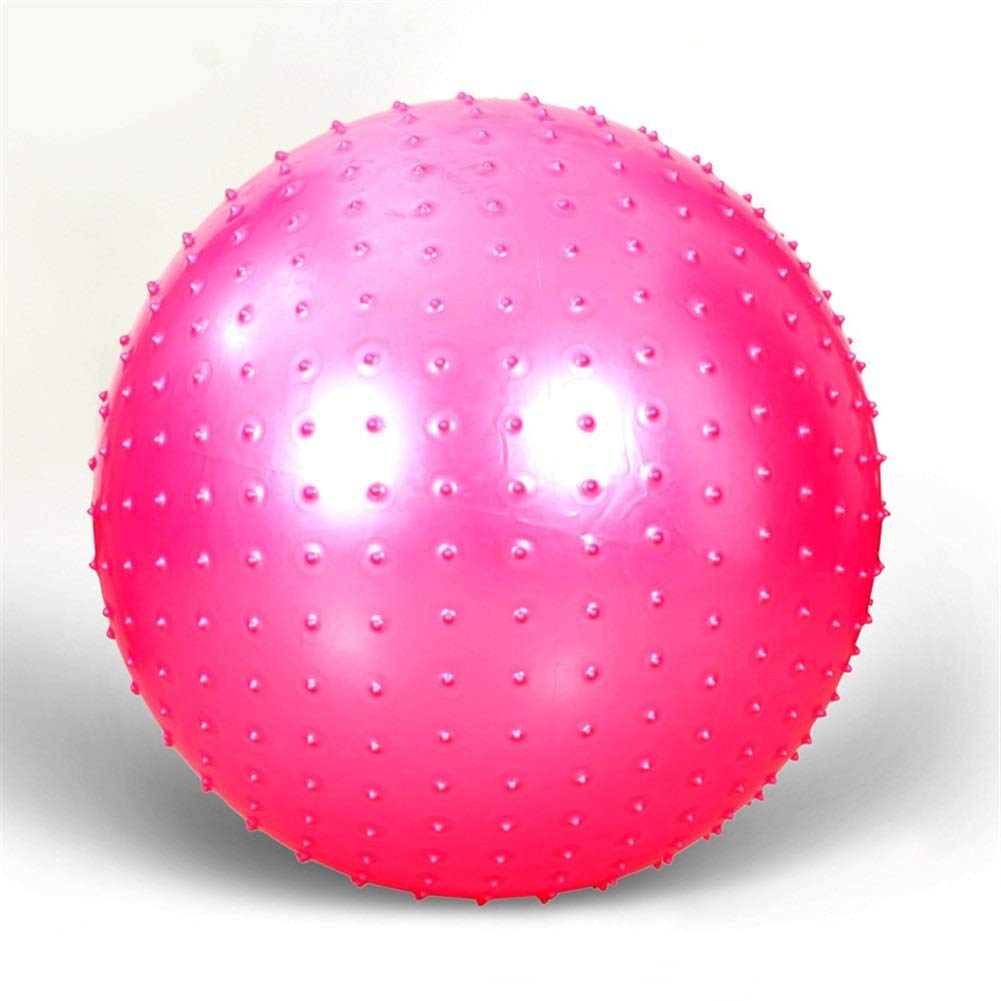 Qzspsx Fitness Yoga Ball Air Ball Green PVC Thick Explosion-Proof Massage Yoga Ball 75cm Thorn Massage Yoga Ball Fitness Ball Gym Ball Non-Slip Yoga Air Pump Balls (Color : Pink, Size : 55cm)