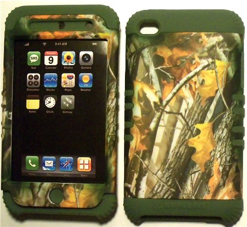 Camo 2 Oak Tree on Sage Silicone Skin for Apple ipod Touch iTouch 4G 4 Hybrid 2 in 1 Rubber Cover Hard Case (Ipod 4g Case Camo)